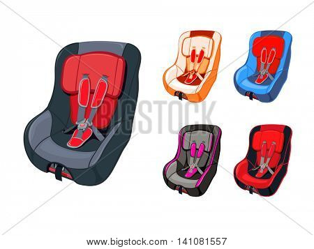 Colorful child car seat isolated