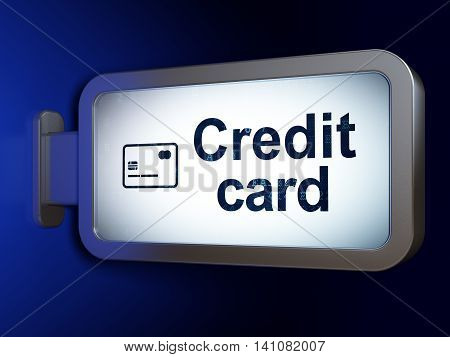 Currency concept: Credit Card and Credit Card on advertising billboard background, 3D rendering