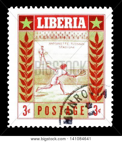 LIBERIA - CIRCA 1955 : Cancelled postage stamp printed by Liberia, that shows tennis.