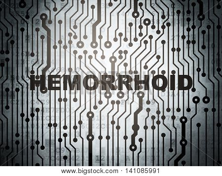Healthcare concept: circuit board with  word Hemorrhoid, 3D rendering
