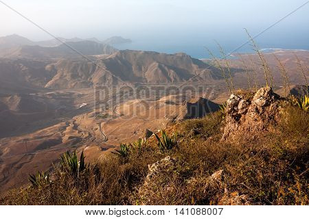 Landscape around the Town of Mindelo, Sao Vicente island of Cape Verde.