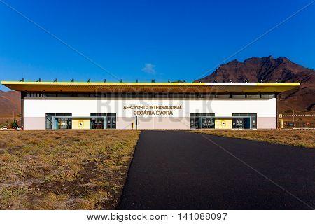 SAO PEDRO, CAPE VERDE - DECEMBER 12 2015: Cesaria Evora International Airport on Sao Vicente Island