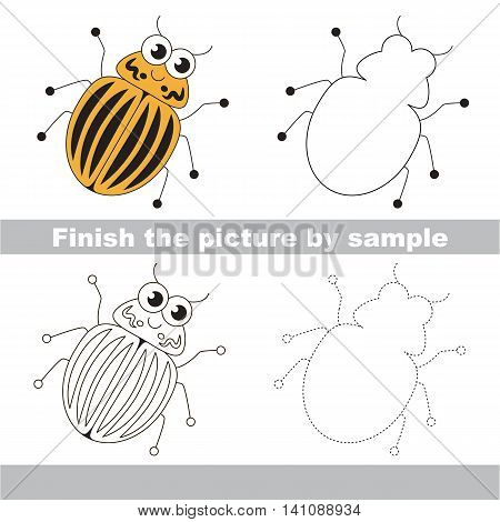 Drawing worksheet for children. Easy educational kid game. Simple level of difficulty. Finish the picture and draw the cute Colorado potato beetle