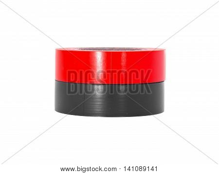 Sticky red black insulation tape rolls isolated on white background