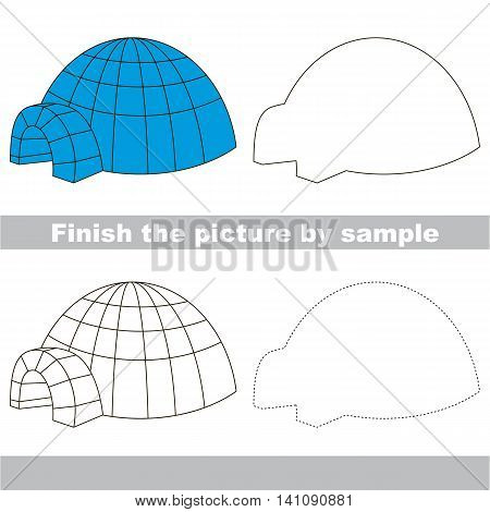 Drawing worksheet for children. Finish the picture and draw the cute Igloo