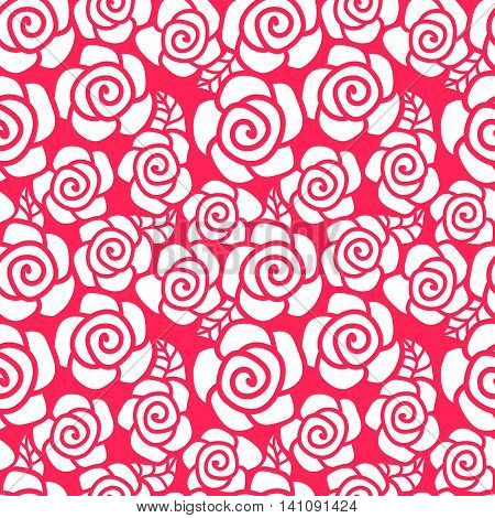 seamless pattern  background with roses and leaves