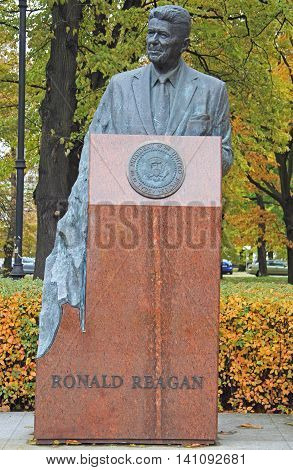 The Ronald Reagan Monument By Sculptor Wladyslaw Dudek Near Usa Embassy In Warsaw
