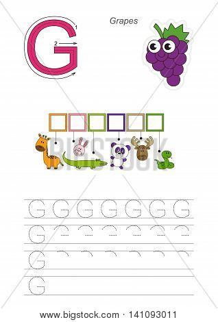 Vector rebus game for children. Easy educational kid game. Simple game level. Find solution and write the hidden word Grapes.