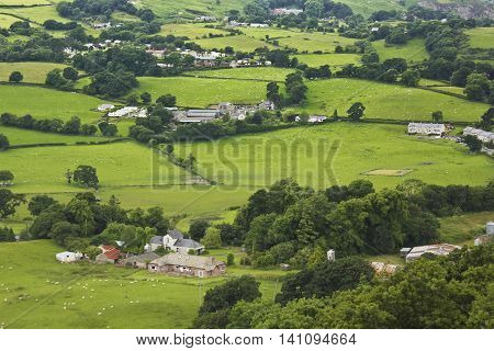 CONWY, WALES, JUNE 27. Conwy Valley on June 27, 2016, near Conwy, Wales. An Aerial Shot of the Welsh Countryside in the River Conwy Valley Wales.