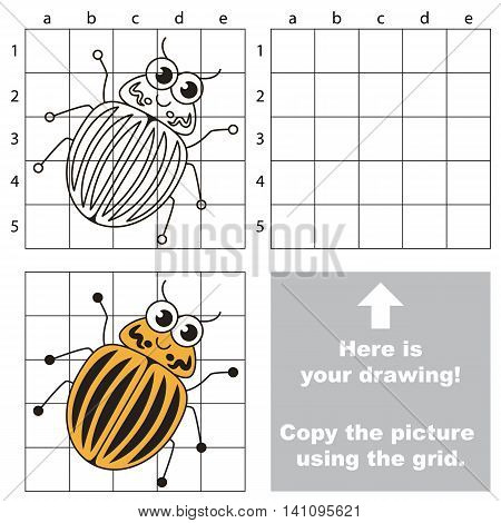 Copy the picture using grid lines. Easy educational game for kids. Simple kid drawing game with Potato Bug.