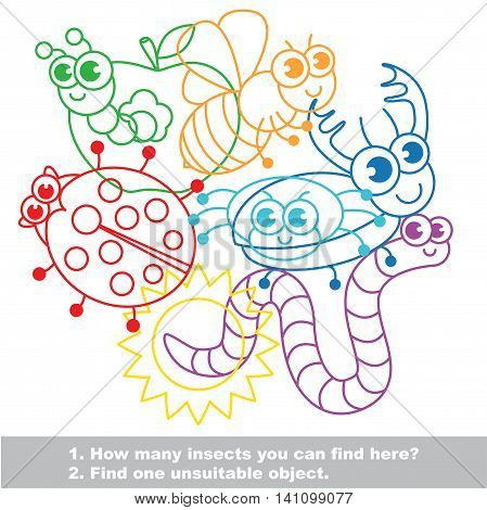 Cute funny insects mishmash colorful set in vector. Find all hidden objects on the picture. Find one unfit object. Visual game for children. Easy educational kid game. Simple level of difficulty.