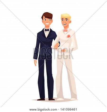 wedding of two gay, comic cartoon illustration isolated on white background. married of two gay men. marriage process two gay person