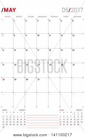 May 2017. Vector Print Template. Monthly Calendar Planner For 2017 Year. Week Starts Sunday. 3 Month