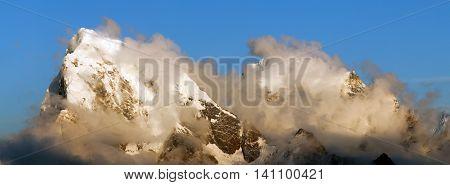 Evening view from Gokyo Ri to Arakam Tse Cholatse and Tabuche Peak - trek to Everest base camp - Nepal