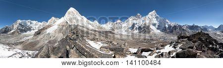 Panoramic view of Mount Everest Lhotse Nuptse Pumo Ri and Kala Patthar- way to Everest base camp - Nepal