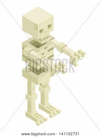 Isometric Sceleton Halloween Monster Icon Flat Design Isolated Vector Illustration
