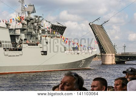 St. Petersburg, Russia - 31 July, Warship divorced from the Palace Bridge, 31 July, 2016. Festive parade of warships on the Neva River in St. Petersburg.