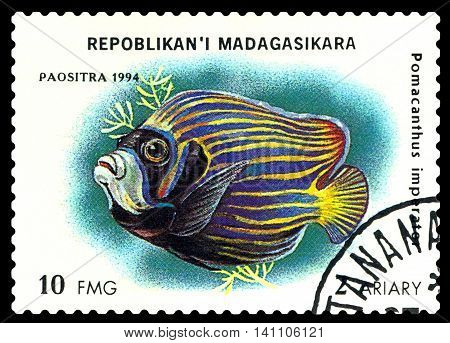 STAVROPOL RUSSIA - July 31 2016: a stamp printed by Malagasy Republic shows the fishes with the inscription Pomacanthus Imperator series circa 1994