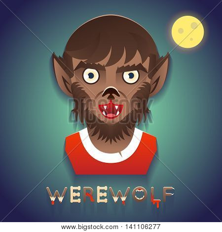 Werewolf Avatar Role Character Bust Halloween Party Stylish Background Greeting Card Template Vector Illustration
