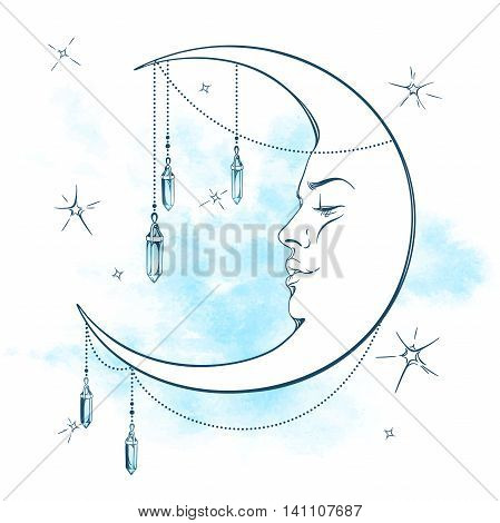 Blue crescent moon with moonstone pendants and stars vector illustration. Hand drawn tattoo design astrology alchemy magic symbol isolated over abstract watercolor background