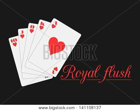 Royal Flush Playing Cards, Hearts Suit. Poker. Vector Illustration.