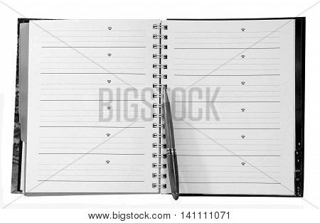Open address phone book with pen on a white background