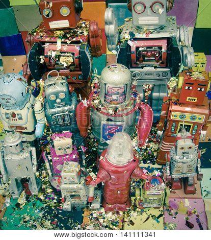 Happy robots having fun together