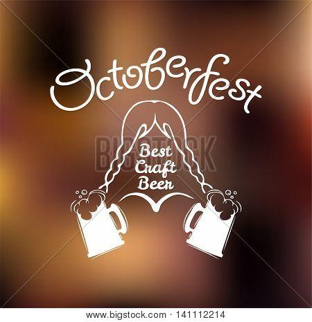 Girl in national dress with beer mug. Oktoberfest beer mug. Best craft beer. Vector illustration. Octoberfest label.