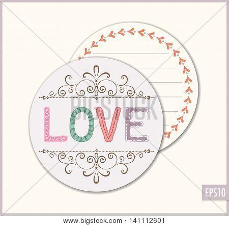 Love wedding favor sticker. Ornate romantic vector card.