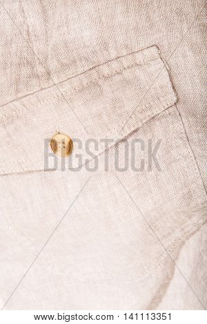 Closeup of a pocket of some textile trousers.