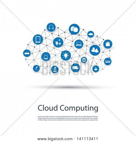 Cloud Computing, IoT, IIoT, Networking, Future Technology Concept Background, Creative Design Template with Icons - Illustration in Editable Vector Format
