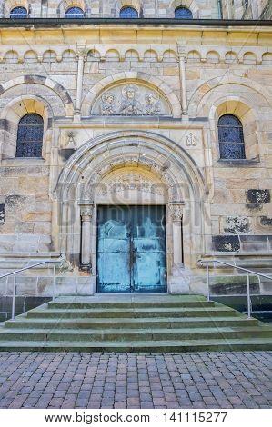 Entrance Door Of The St. Antonius Basilica In Rheine