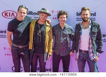 LAS VEGAS - MAY 22 : (L-R) Musicians Magnus Larsson Mark Falgren Lukas Graham and Kasper Daugaard of the band Lukas Graham atend the 2016 Billboard Music Awards on May 22 2016 in Las Vegas.