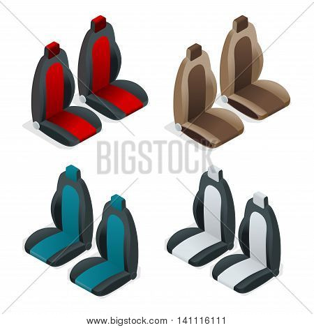 Modern set of car seat icons. Editable automotive collection. Vector isometric 3d flat illustration
