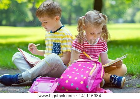 Two Happy Children  In Park