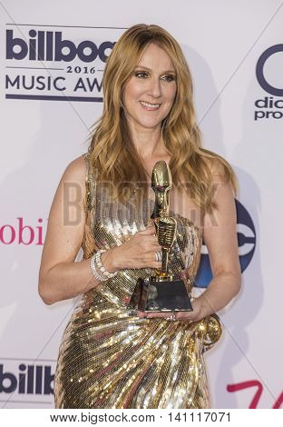 LAS VEGAS - MAY 22 : Honoree Celine Dion recipient of the Icon Award poses in the press room at the 2016 Billboard Music Awards on May 22 2016 in Las Vegas