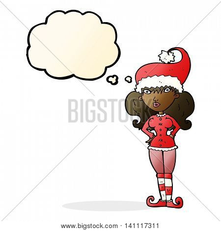 cartoon santa's helper woman with thought bubble