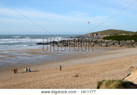 Flying A Kite On Fistral Beach, Newquay.