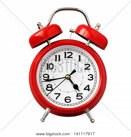 Red retro alarm clock isolated on white background. The sound of the alarm.