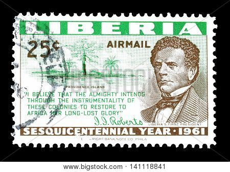 LIBERIA - CIRCA 1961 : Cancelled postage stamp printed by Liberia, that shows Joseph Roberts and Providence island.