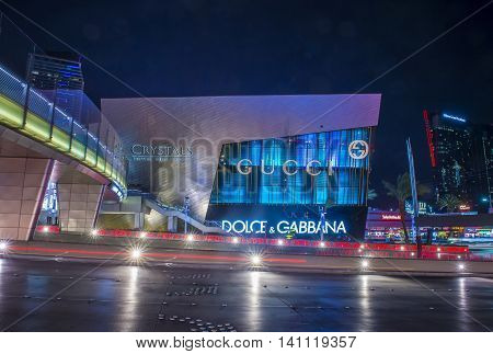 LAS VEGAS - JUNE 14 : The Crystals mall in Las Vegas strip on June 14 2016. Crystals offers 500000 sq ft of retail space including gourmet restaurants shops and galleries.