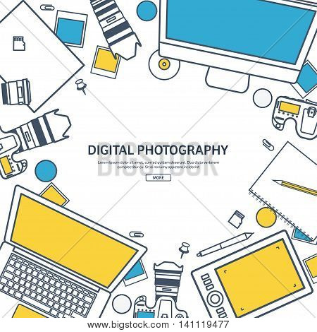 Line art.Photographer equipment on a table. Photography tools, photo editing, photoshooting flat background. Digital photocamera with lens. Vector illustration.