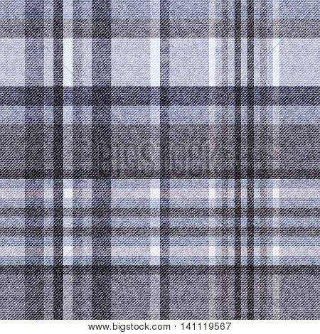 Tartan checkered seamless fabric gray vector background