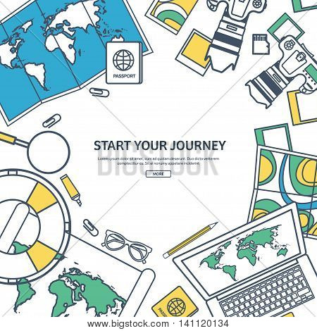 Line art.Travel and tourism. Flat style. World, earth map. Globe. Trip, tour, journey, summer holidays. Travelling, exploring worldwide. Adventure, expedition. Table, workplace. Traveler. Navigation or route planning.