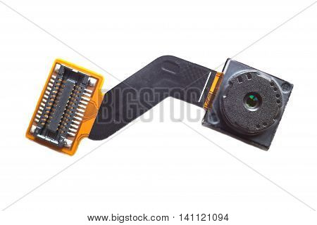 Smartphone camera electronic module with connector close-up isolated on white
