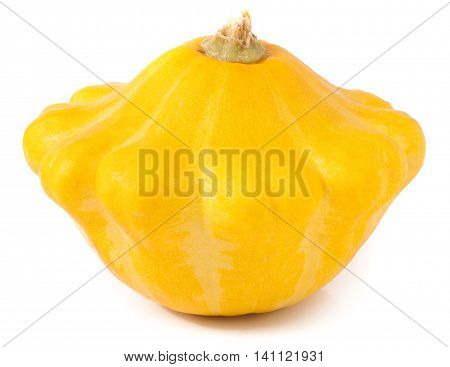 one yellow pattypan squash isolated on white background.