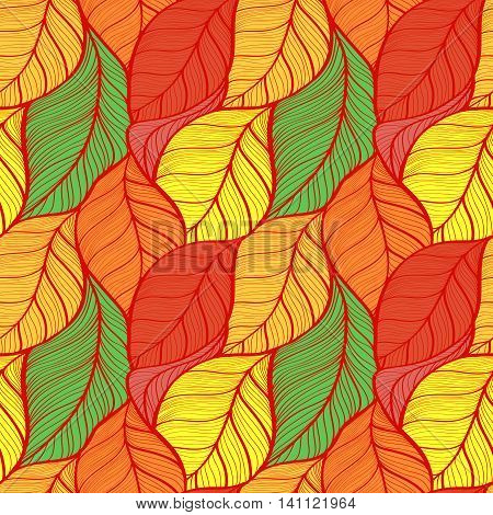 seamless background of colorful autumn leaves yellow orange red green