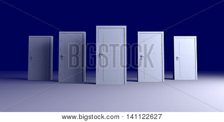 Five doors. 3D rendered Illustration. Unbalanced lightning setup.