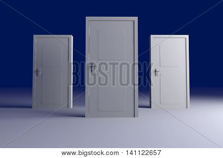 Three doors. 3D rendered Illustration. Unbalanced lightning setup.