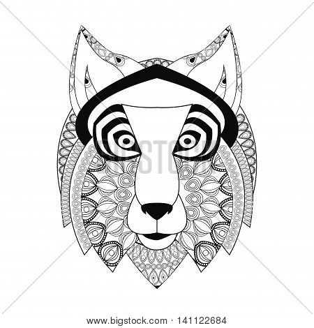 flat design tribal wolf icon vector illustration